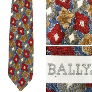 VINTAGE Bally Silk Floral Diamond Print Damask Tie
